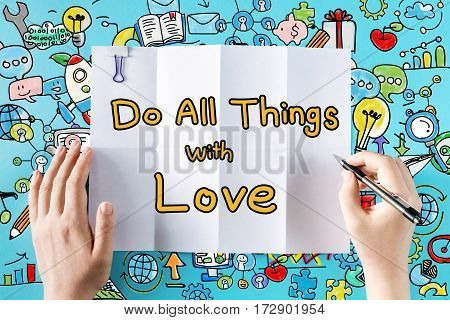Do All Things With Love Text With Hands