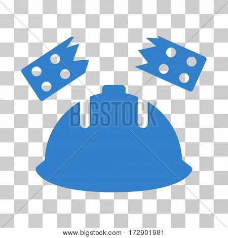 Brick Helmet Accident vector pictograph. Illustration style is flat iconic cobalt symbol on a transparent background.