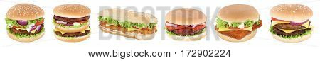 Hamburger Isolated Collection Set Cheeseburger In A Row