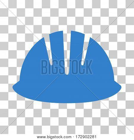 Builder Helmet vector pictogram. Illustration style is flat iconic cobalt symbol on a transparent background.