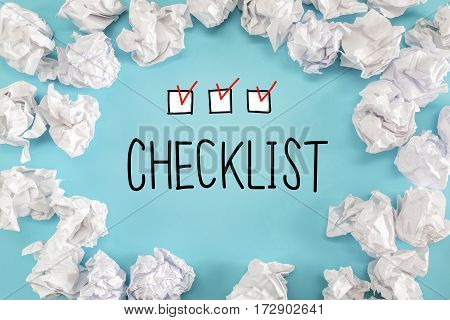 Checklist Text With Crumpled Paper Balls
