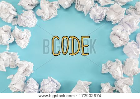 Code Text With Crumpled Paper Balls