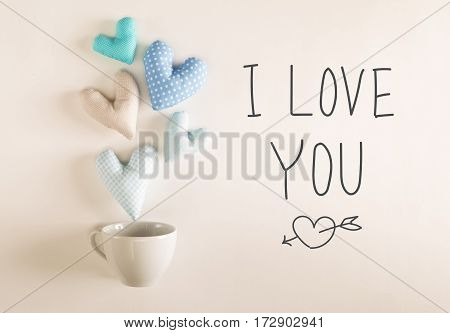 I Love You Message With Blue Heart Cushions