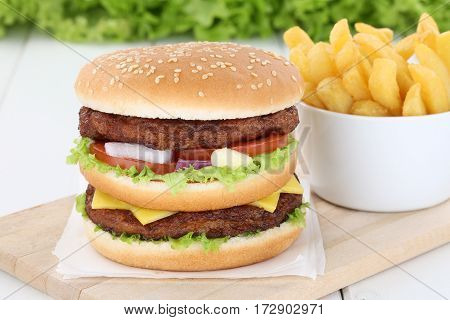 Double Burger Hamburger With Fries