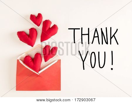 Thank You Message With Red Heart Cushions
