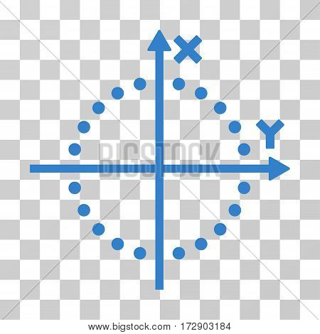 Circle Plot vector pictograph. Illustration style is flat iconic cobalt symbol on a transparent background.