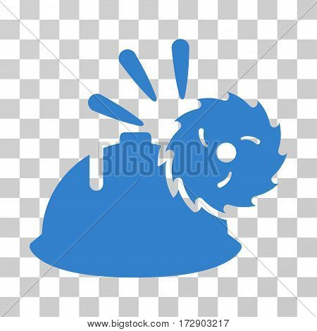 Circular Blade Head Protection vector pictograph. Illustration style is flat iconic cobalt symbol on a transparent background.