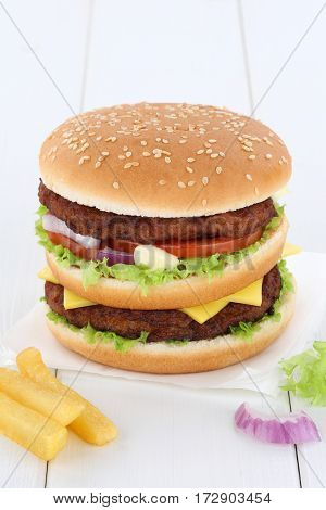 Double Burger Hamburger Copyspace Copy Space Beef Tomatoes Lettuce Cheese