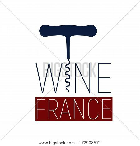 Wine France logotype corkscrew and color flag with blue and red