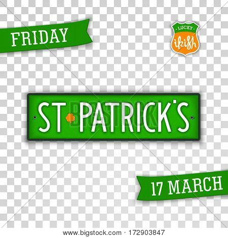 Creative stylized badges for Saint Patrick's Day holiday.  Isolated badge in style car license plate. Vector design elements.