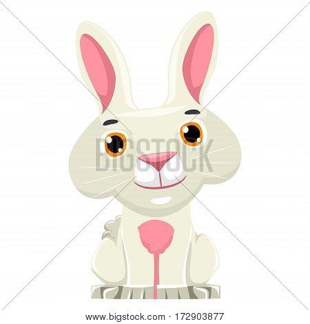 Illustration of One Cute Little Rabbit Cartoon