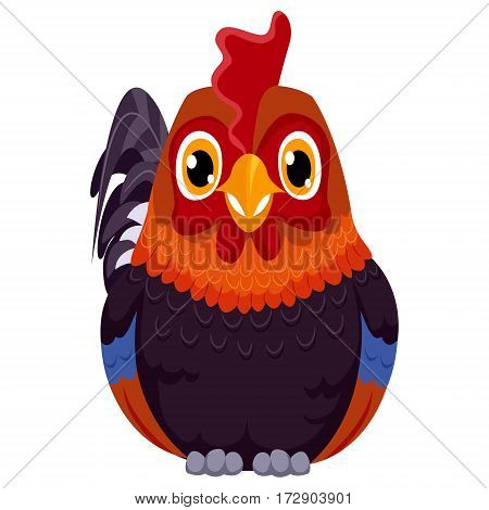 Vector Illustration of One Cute Cartoon Rooster