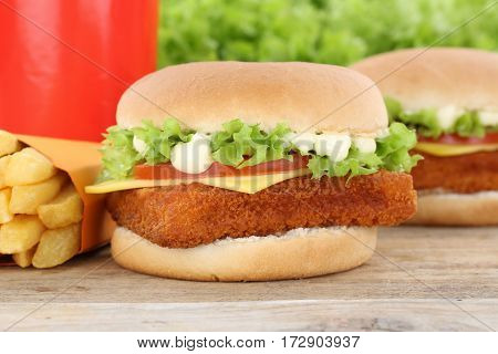 Fish Burger Fishburger Hamburger And Fries Menu Meal Combo Drink