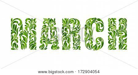 March. Decorative Font With Swirls And Floral Elements Isolated