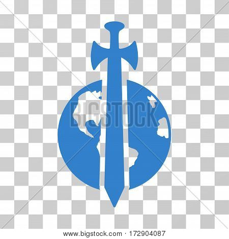 Earth Military Protection vector pictograph. Illustration style is flat iconic cobalt symbol on a transparent background.
