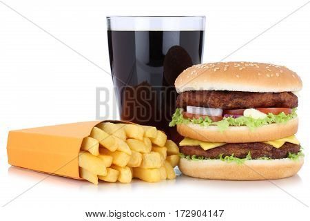 Double Burger Hamburger And French Fries Menu Meal Combo Cola Drink Isolated