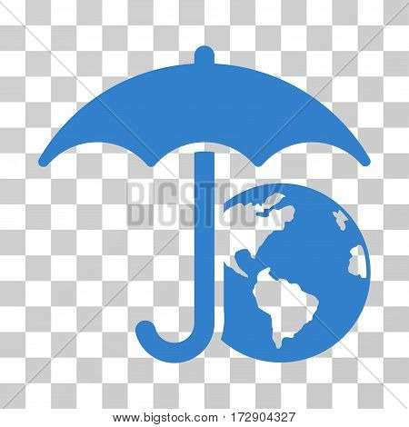 Earth Umbrella vector pictogram. Illustration style is flat iconic cobalt symbol on a transparent background.