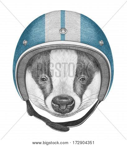 Portrait of Badger with Helmet. Hand drawn illustration.