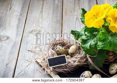Happy holidays easter spring festive decoration. Yellow primula primrose flowers in a pot and quail eggs in a nest on a rustic wooden background. Copy space