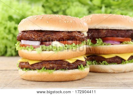 Double Burger Hamburger Fresh Tomatoes Cheese