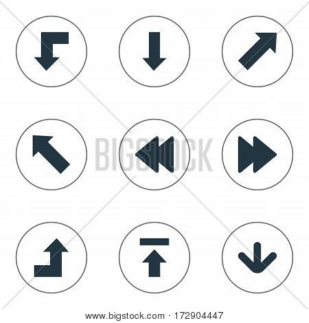 Set Of 9 Simple Indicator Icons. Can Be Found Such Elements As Transfer, Rearward, Increasing And Other.