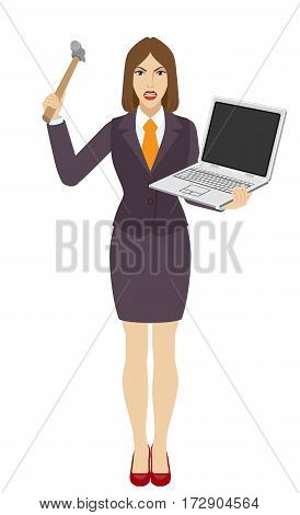 Businesswoman trying to break a laptop notebook with a hammer. Full length portrait of businesswoman in a flat style. Vector illustration.