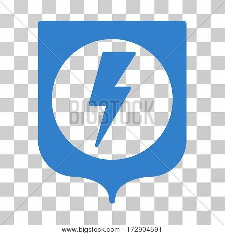Electric Protection vector icon. Illustration style is flat iconic cobalt symbol on a transparent background.