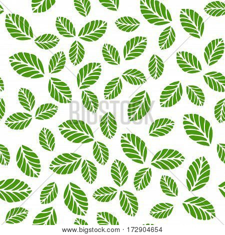 Seamless vector pattern with greenery strawbery leaves