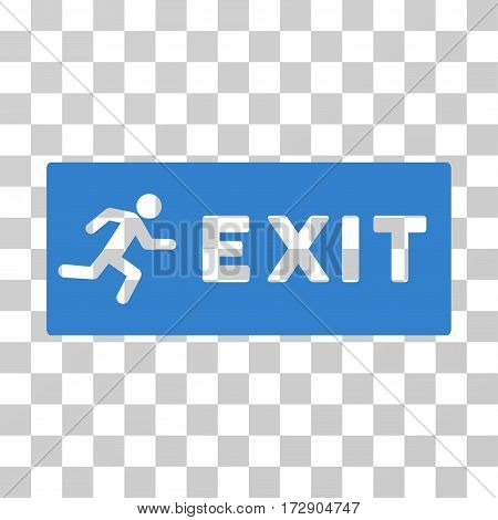 Emergency Exit vector pictogram. Illustration style is flat iconic cobalt symbol on a transparent background.