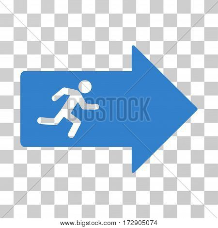 Exit Arrow vector pictograph. Illustration style is flat iconic cobalt symbol on a transparent background.