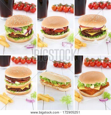 Hamburger Collection Set Cheeseburger Menu Meal Cola Drink