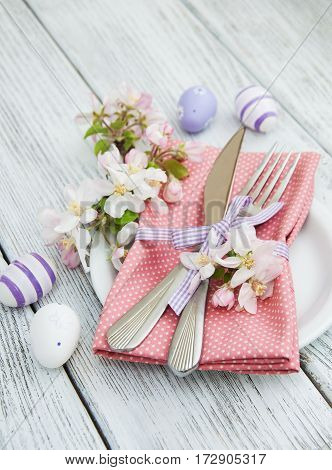 Easter Table Settings With Fresh Blossom