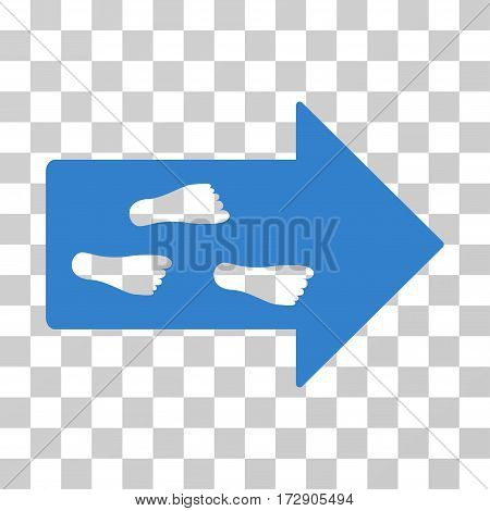 Exit Direction vector icon. Illustration style is flat iconic cobalt symbol on a transparent background.