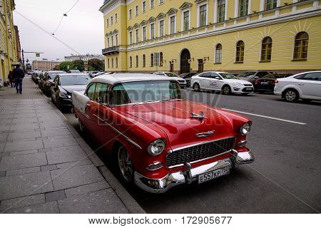 An Old Car On Street In St Petersburg, Russia