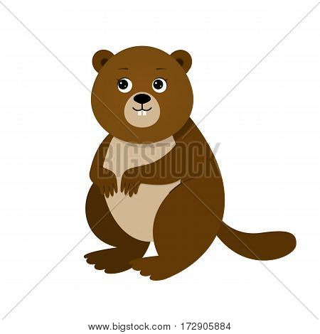Funny beaver, illustration for children. Design element for baby shower card, scrapbooking, invitation, children goods and childish accessories. Isolated on white background. Vector illustration.