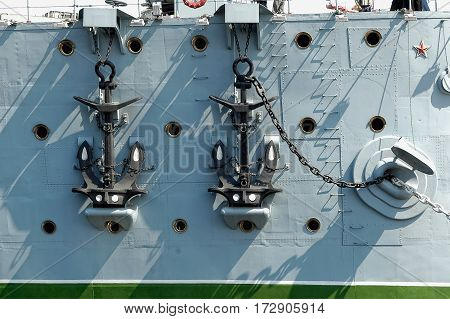 Saint-Petersburg Russia - May 16 2006: Anchors of cruiser Aurora