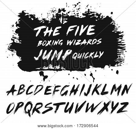 Painted Abc set. Alternative letters in sentence. Bold grunge handwritten font. Sans serif alphabet. Distress texture brush strokes italics. Grungy splatter background. Paintbrush design cursive.