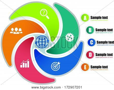 Circle Infographic Template With 5 Steps