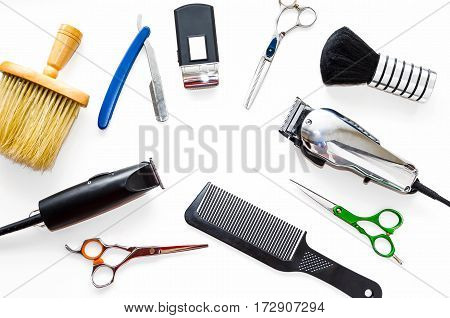 Barber shop equipment tools on white background. Professional hairdressing tools. Comb, scissor, clippers and hair trimmer isolated.