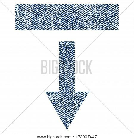 Pull Down vector textured icon for overlay watermark stamps. Blue jeans fabric vectorized texture. Symbol with dirty design. Blue ink rubber seal stamp with fiber textile structure.