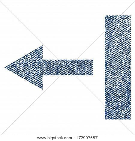 Pull Left vector textured icon for overlay watermark stamps. Blue jeans fabric vectorized texture. Symbol with dust design. Blue ink rubber seal stamp with fiber textile structure.