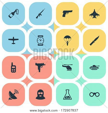 Set Of 16 Simple Terror Icons. Can Be Found Such Elements As Helicopter, Firearm, Signal Receiver And Other.