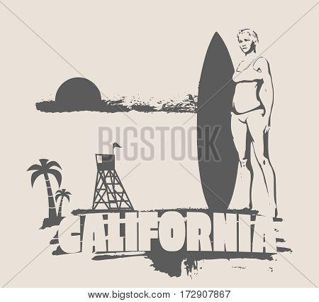 Woman posing with surfboard on grunge brush stroke. Monochrome silhouette. Vector illustration. Vintage Surfing Graphic and Emblem. Palm and lifeguard tower on backdrop. California text