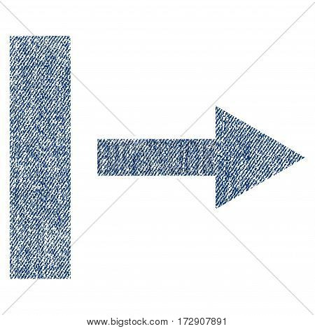 Pull Right vector textured icon for overlay watermark stamps. Blue jeans fabric vectorized texture. Symbol with scratched design. Blue ink rubber seal stamp with fiber textile structure.