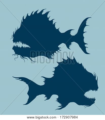 Sea monsters set. Deep-sea fishes silhouettes. Freehand drawing. Vector illustration.