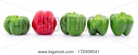 Red and green peppers isolated on white background.