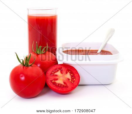 Tomatoes and tomato juice isolated on white background.