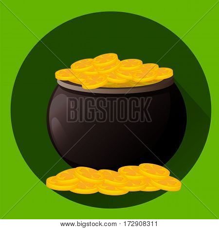 Pot full of golden coins for Saint Patrick's day. Leprechaun gold. Vector illustration flat style on green background. Usable for greeting card icon poster etc.