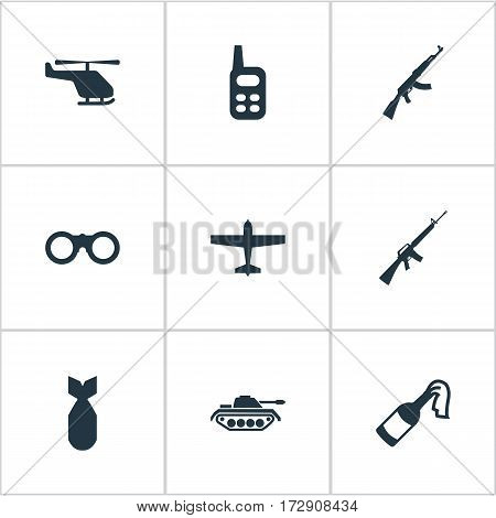 Set Of 9 Simple Terror Icons. Can Be Found Such Elements As Nuke, Field Glasses, Rifle Gun And Other.