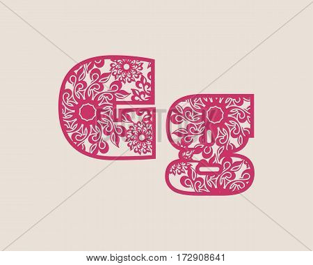 Decorative alphabet vector font. Letter G. Typography for headlines, posters, logos etc. Uppercase and lowercase symbols